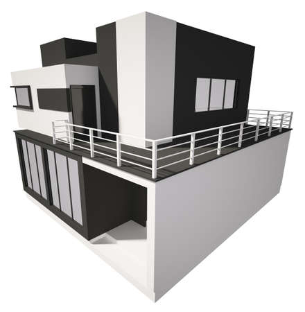 Modern private house exterior isolated over white 3d photo