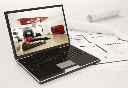 Laptop and blueprint of housing project 3d render Stock Photo - 7578942