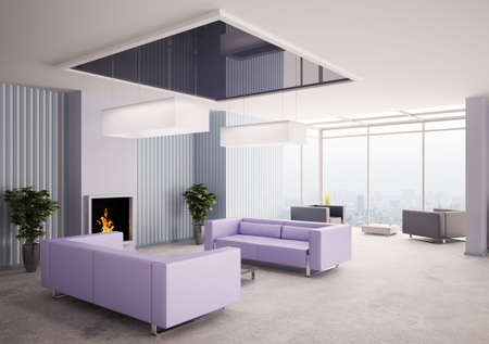 Interior of living room with fireplace 3d render Stock Photo - 7609615
