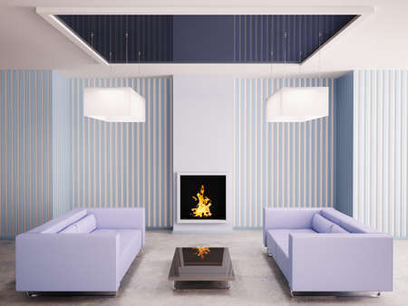 Interior in blue with fireplace and two sofas 3d render photo