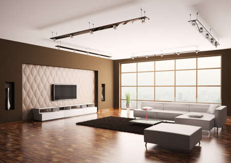 Modern Living room with lcd and white sofa interior 3d photo