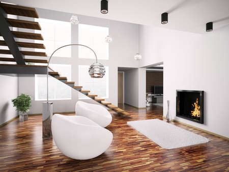 fireplace living room: Modern interior with fireplace and staircase 3d render