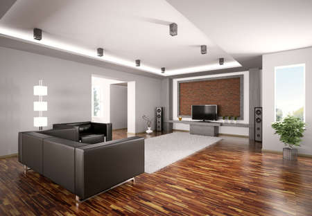 Modern Living room with lcd interior 3d render Stock Photo - 7639338
