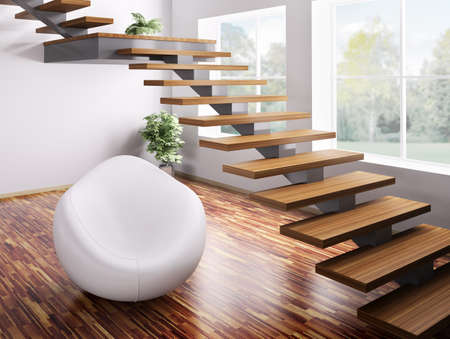 Interior con sillón blanco y procesamiento 3d de escalera de madera  Foto de archivo