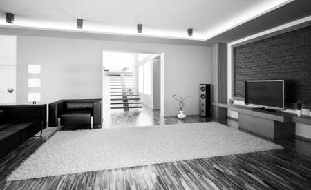 living room furniture: Black white living room with lcd interior 3d render