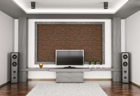 Interior of room with lcd and two speakers 3d render photo