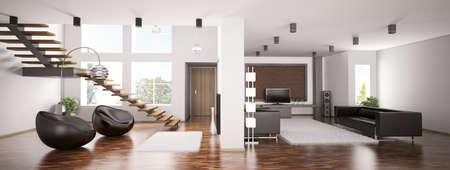 apartment: Interior of apartment panorama 3d render Stock Photo