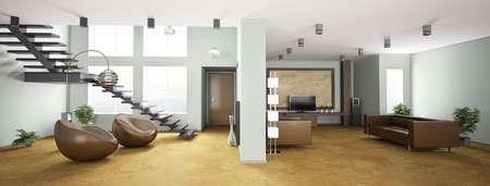 Int�rieur de l'appartement avec escalier panoramique 3D rendent Banque d'images