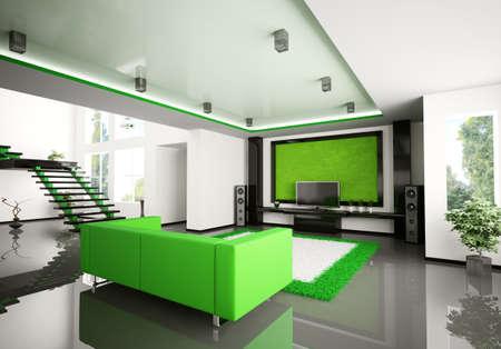 Int�rieur moderne de la salle de s�jour avec escalier de rendu 3d