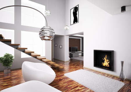 Modern interior with fireplace and staircase 3d render photo