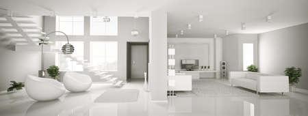 Rendu 3d de blanc appartement int�rieur panorama  Banque d'images
