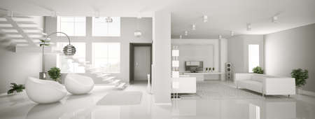 interior design living room: White apartment interior panorama 3d render