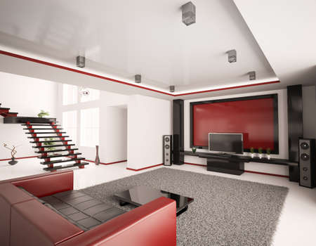 Modern interior of living room with stair 3d render Stock Photo