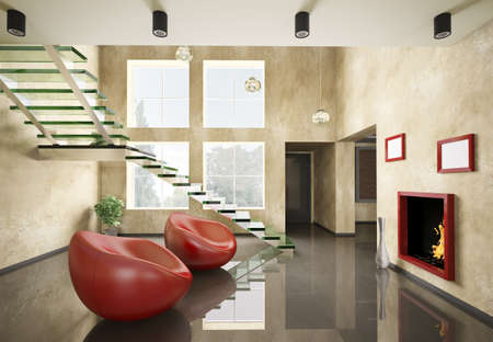 Modern interior with glass staircase and fireplace 3d render photo