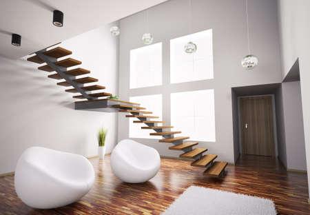 case moderne: Modern interior con poltrone bianchi e scala di legno 3d rendering