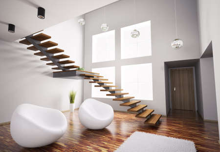 modern interior architecture: Modern interior with white armchairs and wooden staircase 3d render