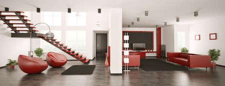 Modern apartment inter panorama 3d render Stock Photo - 7681098