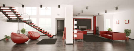 living hall: Modern apartment interior panorama 3d render