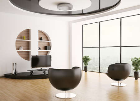 Interior of living room with armchairs and lcd 3d render photo