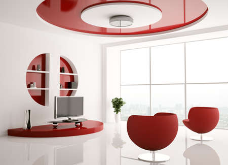 drawing room: Interior of living room with armchairs and lcd 3d render