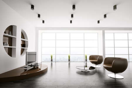 Interior of living room with brown armchairs and lcd 3d render photo
