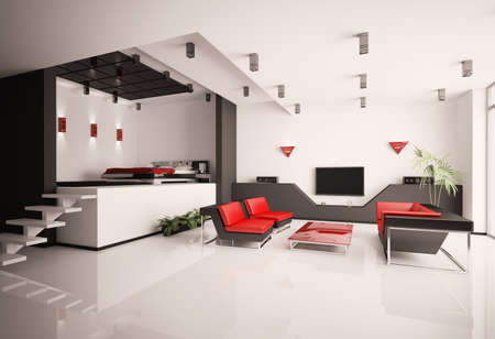 Modern apartment with living room and bedroom inter 3d Stock Photo - 7796337