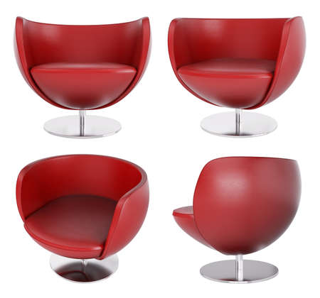 round chairs: Red leather armchairs isolated over white 3d render Stock Photo