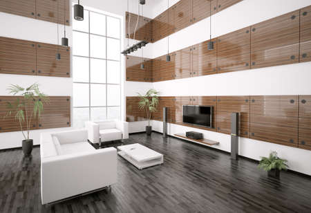 Living room with ebony wood panels interior 3d render photo