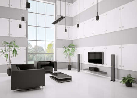 Living room with black sofa, armchair and lcd interior 3d render photo