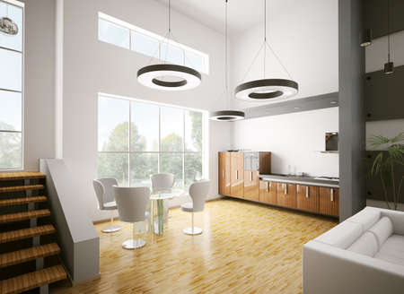 Interior of modern kitchen made with ebony wood 3d render Stock Photo - 7918414