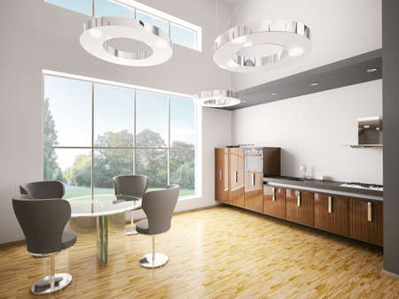 Interior of modern kitchen made with ebony wood 3d render photo