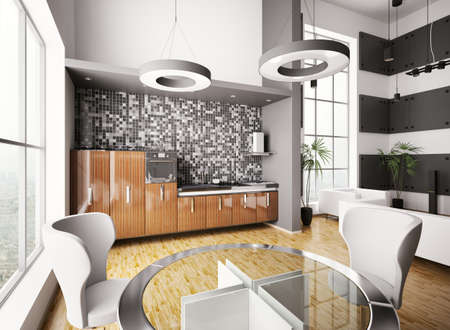 Interior of modern kitchen made with ebony wood 3d render Stock Photo - 7918418