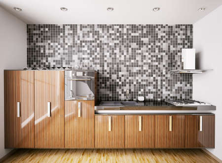 ebony wood: Interior of modern kitchen made with ebony wood over mosaic wall 3d render Stock Photo