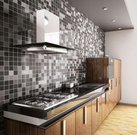 Modern ebony wood kitchen with sink,gas cooktop and hood interior 3d photo