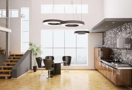 bois �b�ne: Int�rieur de cuisine moderne fait avec bois d'�b�ne rendu 3d