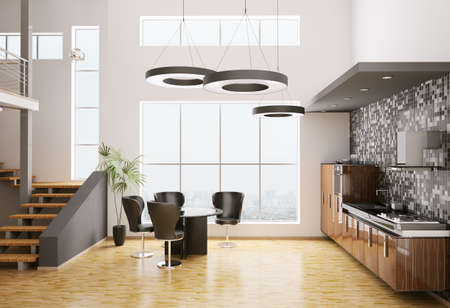 Interior of modern kitchen made with ebony wood 3d render Stock Photo - 7918420