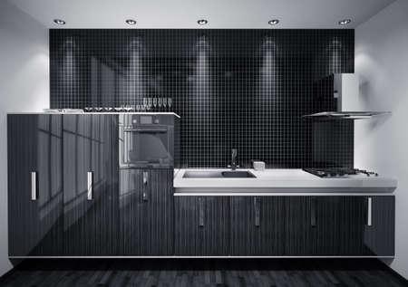Int�rieur de la cuisine moderne maquill� avec du bois de rendu 3d de la mosa�que mur