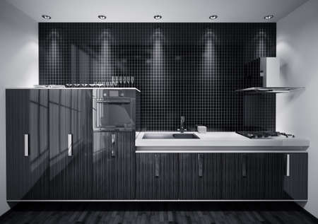 Interior of modern kitchen made with wood over mosaic wall 3d render photo