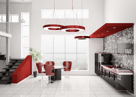 Interior of modern black white red kitchen 3d render photo