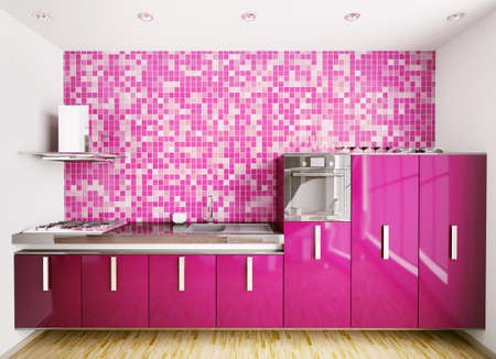 Interior of modern purple kitchen over mosaic wall 3d render Stock Photo - 7918427