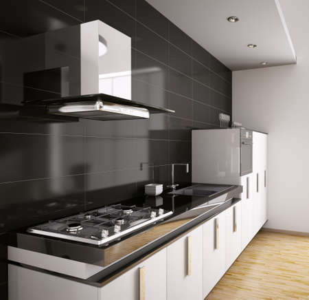 Modern kitchen with sink, gas cooktop and hood interior 3d photo