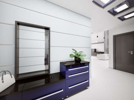 Interior of modern entrance hall in apartment 3d render Stock Photo