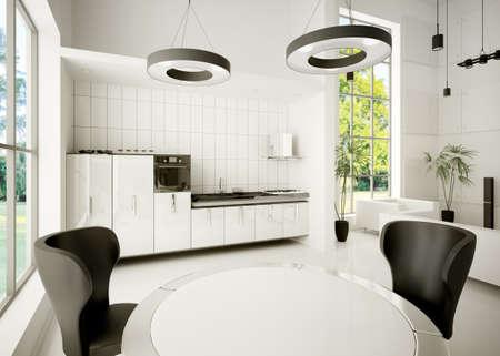 Interior of modern white kitchen 3d render