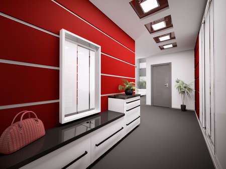 entrance hall: Interior of modern entrance hall in apartment 3d render Stock Photo