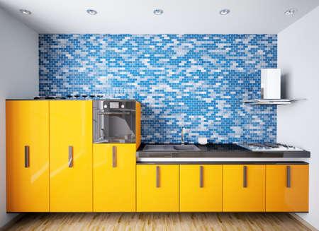 azulejos cocina: Interior de cocina moderna de naranja sobre procesamiento de 3d de pared de mosaico azul