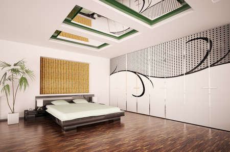Modern bedroom interior with big pattern on the wardrobe 3d render photo