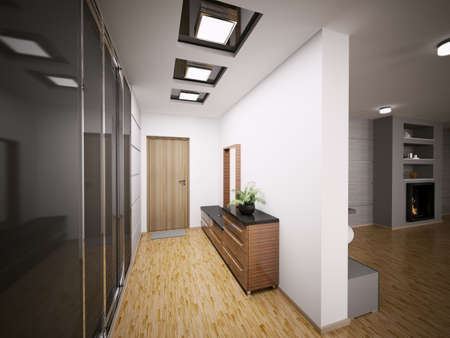 Interior of modern entrance hall in apartment 3d render photo