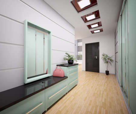 closet door: Interior of modern entrance hall in apartment 3d render Stock Photo