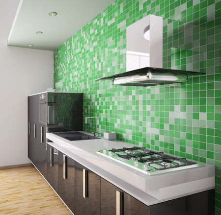cookers: Modern black kitchen over the green mosaic wall interior 3d