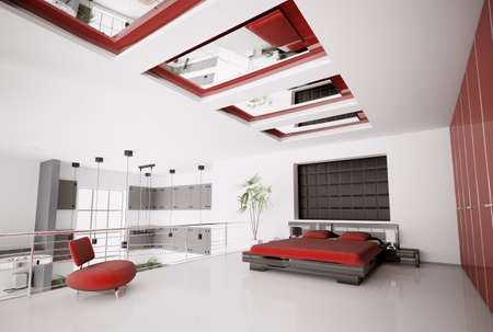 Interior of modern white red black bedroom 3d render photo